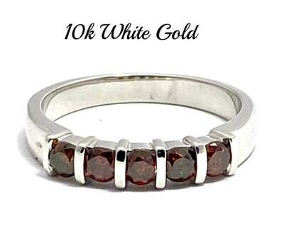 Solid 10k White Gold, 0.50ctw Genuine Chocolate Diamond Ring Size 7
