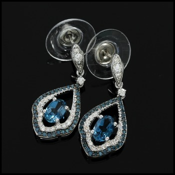 Solid 10k White Gold, 0.50ctw Genuine Diamond & 1.20ctw London Blue Topaz Earrings