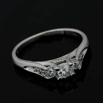 Solid 10k White Gold, 0.50ctw Genuine Diamond Engagement Ring Size 7