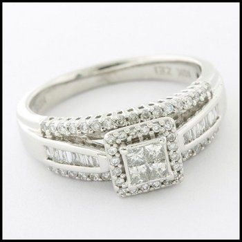 Solid 10k White Gold, 0.50ctw Genuine Diamond Engagement Ring sz 7
