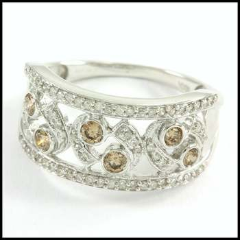 Solid 10k White Gold, 0.50ctw Genuine Diamond Ring Size 6