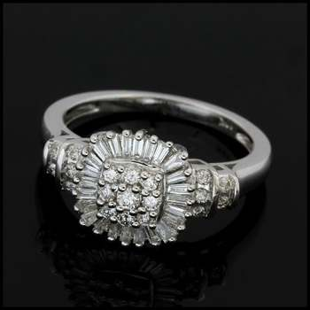 Solid 10k White Gold, 0.50ctw Genuine Diamond Ring Size 7