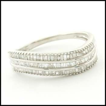 Solid 10k White Gold, 0.50ctw Genuine Diamond Ring Size 8.25