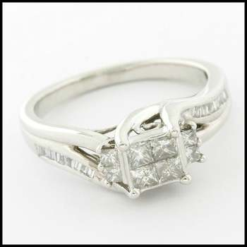 Solid 10k White Gold, 0.50ctw Genuine Diamond Ring sz 7