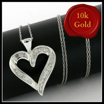 Solid 10k White Gold, 0.50ctw Genuine Diamonds Heart Shape Necklace