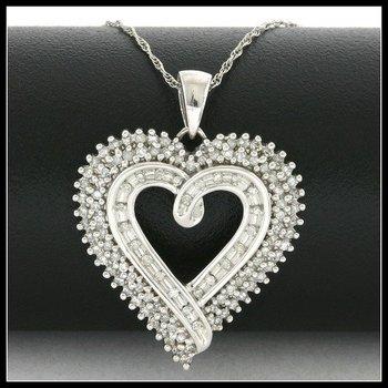 Solid 10k White Gold, 0.50ctw Genuine Diamonds Heart Shape Necklace