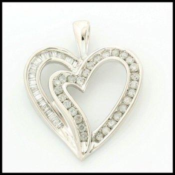 Solid 10k White Gold, 0.50ctw Genuine Diamonds Heart Shape Pendant