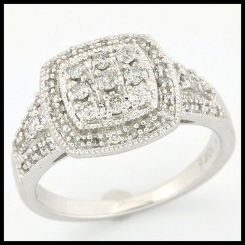 Solid 10k White Gold, 0.50ctw Genuine Diamonds H-SI Ring size 7