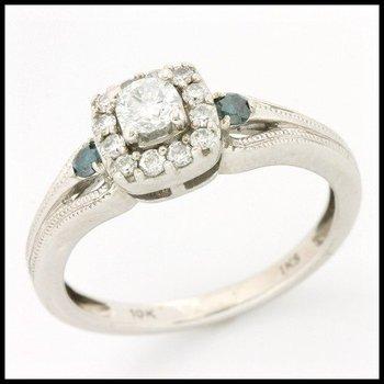 Solid 10k White Gold, 0.50ctw Genuine H1/SI1 & Green Diamonds Ring sz 6