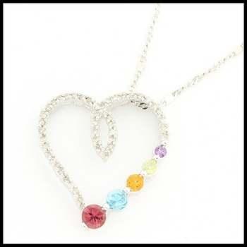 Solid 10k White Gold, 0.50ctw Genuine Multicolor Gemstones & 0.25ctw Genuine Diamond Necklace