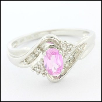 Solid 10k White Gold, 0.50ctw Genuine Pink Topaz & 0.02ctw Genuine Diamond Ring sz 7