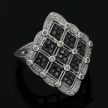 Solid 10k White Gold, 0.50ctw Genuine White & Black Diamond Ring Size 7.25