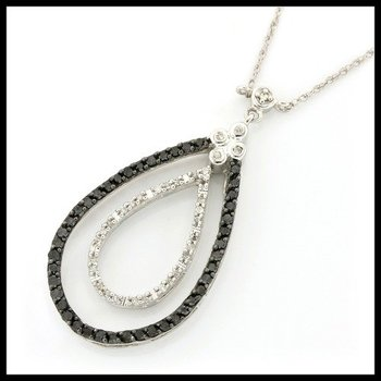 Solid 10k White Gold, 0.50ctw Genuine White & Black Diamonds Necklace