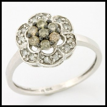 Solid 10k White Gold, 0.50ctw Genuine White & Champagne Diamonds Ring sz 7