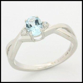 Solid 10k White Gold, 0.51ctw Genuine Aquamarine & Genuine Diamonds Ring sz 9.5