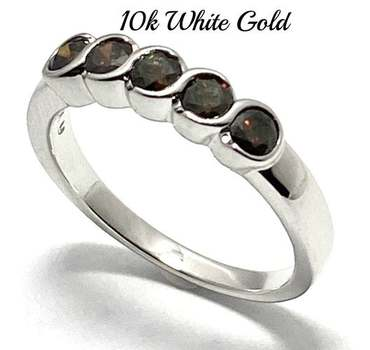 Solid 10k White Gold, 0.55ctw Genuine Chocolate Diamond Ring Size 7