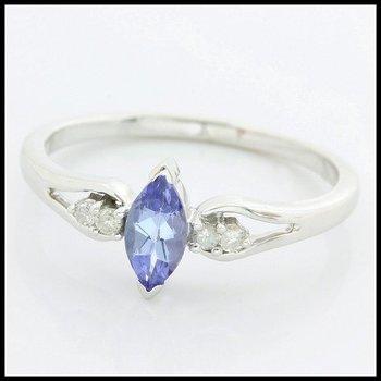 Solid 10k White Gold, 0.55ctw Genuine Diamonds & Tanzanite Ring sz 7