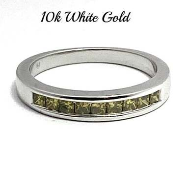 Solid 10k White Gold, 0.60ctw Genuine Fancy Yellow Diamond Ring Size 7