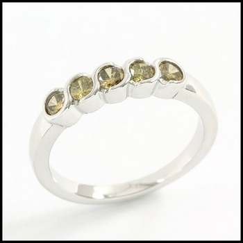 Solid 10k White Gold 0.60ctw Genuine Yellow Diamond Ring Size 7