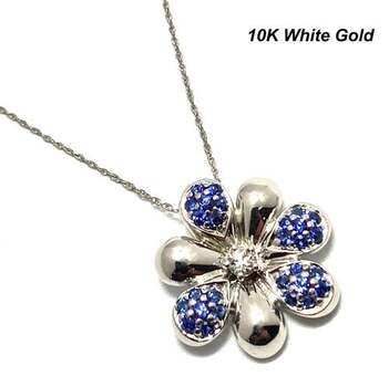 Solid 10k White Gold, 0.75ctw Blue & White Sapphire Necklace