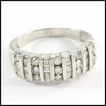 Solid 10k White Gold, 0.75ctw Genuine Diamond Anniversary Ring Size 8