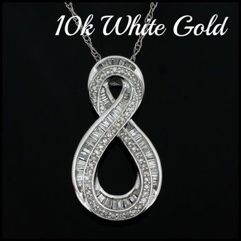 Solid 10k White Gold, 0.75ctw Genuine Diamond Necklace