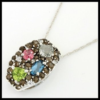 Solid 10k White Gold, 0.75ctw Multi-Stones Necklace