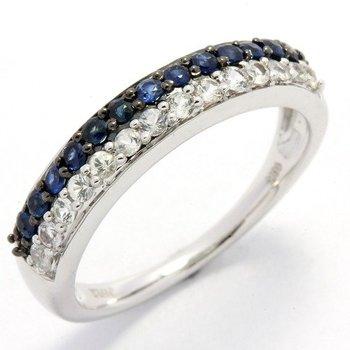 Solid 10k White Gold, 1.00ctw Genuine Blue & White Sapphire Ring sz 7