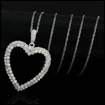Solid 10k White Gold, 1.00ctw Genuine Diamond Necklace