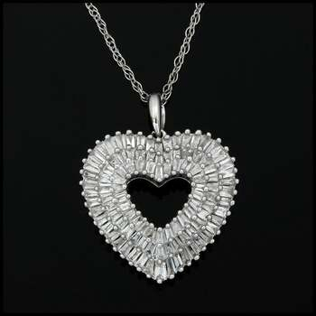 Solid 10k White Gold, 1.00ctw Genuine Diamond Necklace with Heart Shape Pendant