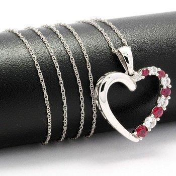 Solid 10k White Gold, 1.00ctw Genuine Red Corundum & White Topaz Heart Necklace