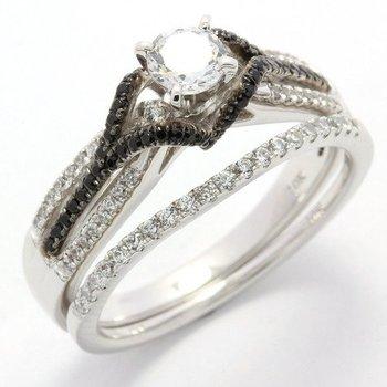 Solid 10k White Gold, 1.00ctw White & Black Genuine CZ's Bridal Engagement Ring Set sz 7