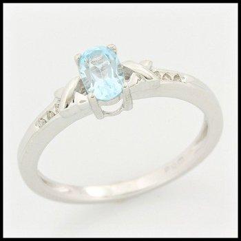 Solid 10k White Gold, 1.03ctw Genuine Diamonds & Blue Topaz Ring size 7
