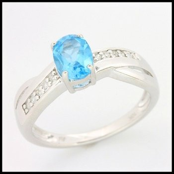 Solid 10k White Gold, 1.05ctw Genuine Diamonds & Blue Topaz Ring sz 6 3/4