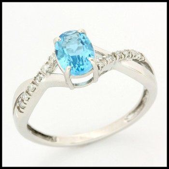 Solid 10k White Gold, 1.06ctw Genuine Diamonds & Genuine Blue Topaz Ring sz 6.5