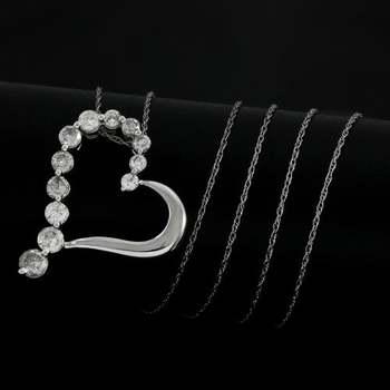 Solid 10k White Gold, 1.0ctw Genuine Diamond Heart Shape Necklace