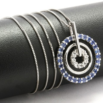 Solid 10k White Gold, 1.10ctw Blue & White Sapphire Necklace