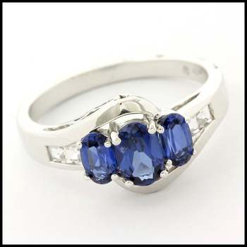 Solid 10k White Gold, 1.10ctw Sapphire & 0.20ctw White Sapphire Ring sz 7