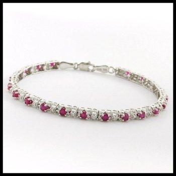 Solid 10k White Gold, 1.15ctw Genuine Ruby & Genuine Diamonds Bracelet