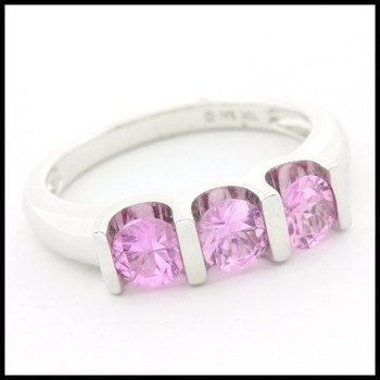 Solid 10k White Gold 1.25ctw Genuine Pink Topaz Ring Size 7