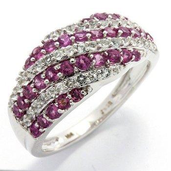 Solid 10k White Gold, 1.25ctw Genuine Pink & White Topaz Ring sz 6 3/4