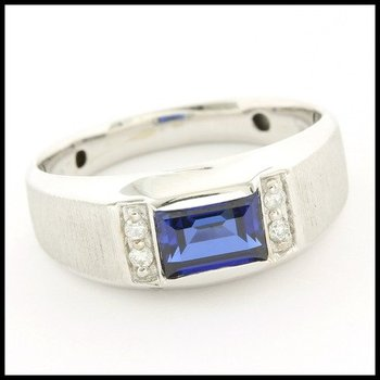 Solid 10k White Gold 1.25ctw Sapphire & White Sapphire Men's Ring Size 10