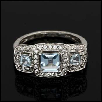 Solid 10k White Gold, 1.50ctw Genuine Aquamarine & 0.30ctw White Sapphire Ring Size 7