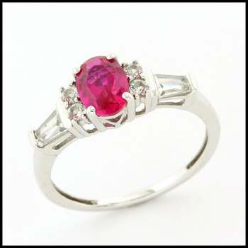 Solid 10k White Gold 1.50ctw Pink Tourmaline and White Sapphire Ring sz 7