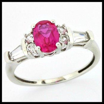 Solid 10k White Gold, 1.50ctw Pink Tourmaline & White Sapphire Ring sz 7