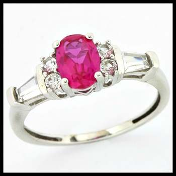 Solid 10k White Gold, 1.50ctw Pink Tourmaline & White Sapphire Ring sz 7