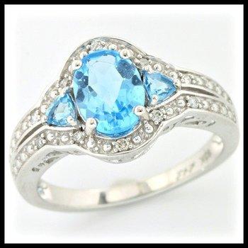 Solid 10k White Gold, 1.76ctw Genuine Diamonds & Blue Topaz Ring sz 7