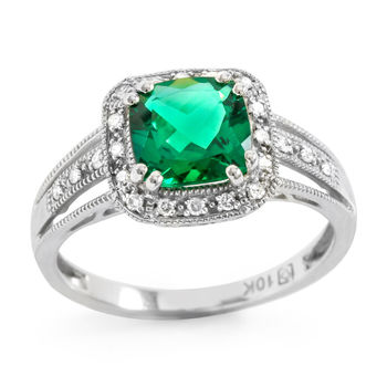 Solid 10k White Gold, 2.00ctw Emerald & 0.18ctw White Sapphire Ring size 6.75