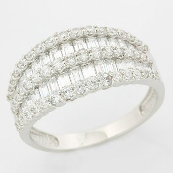 Solid 10k White Gold, 2.00ctw Genuine White Sapphire Ring size 9.75