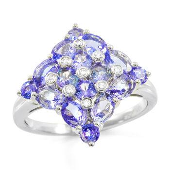 Solid 10k White Gold, 2.00ctw Tanzanite & 0.05ctw Genuine Diamonds Ring size 7